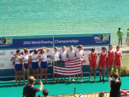 U.S. Women's four (with the row2k flag!) - world champs! #rowtorio #aiguebelette2015 #wrchamps  http://t.co/WlSzHkPEAB