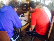 The heavies catching up on the @WorldRowing #WRchamps at Tim Hortons between rows #GoCanada #BigTim #woofwoofwoof  http://t.co/IcRZFlXsB0