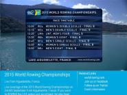 Watch FISA World Rowing Chps 2015 live on  http://t.co/ZKRtwgotOW  or  http://t.co/j7Vxf7rDKI  @WorldRowing #WRChamps  http://t.co/kCDSJP4BqN