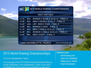 Watch FISA World Rowing Chps 2015 live on  http://t.co/ZKRtwgotOW  or  http://t.co/j7Vxf7rDKI  @WorldRowing #WRChamps  http://t.co/faTo92POR3